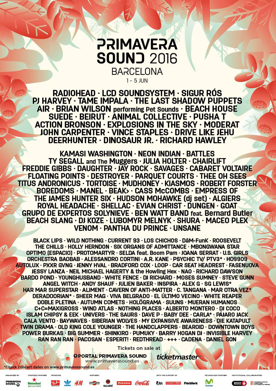 Cartel de Primavera Sound 2016