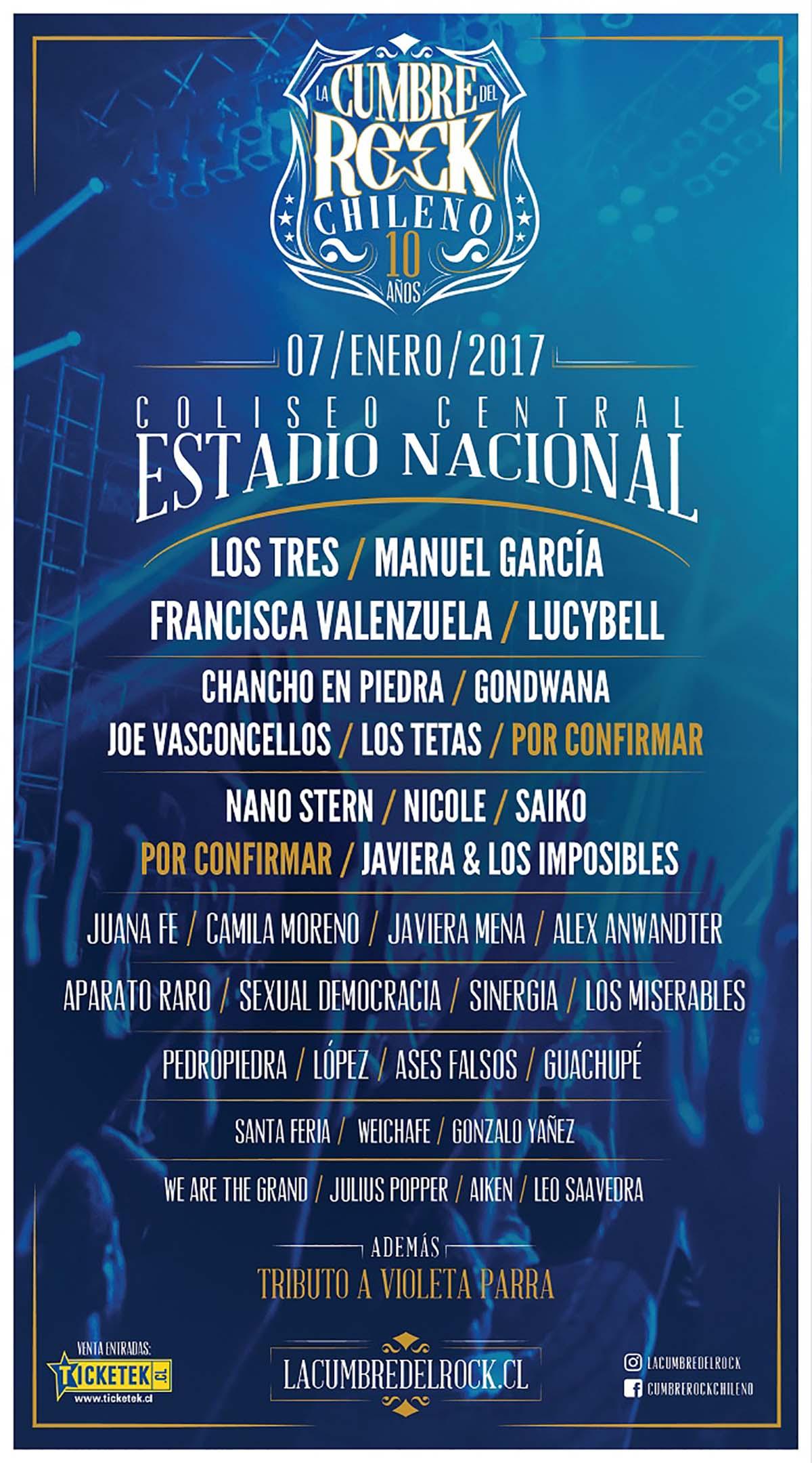 Cartel de Cumbre del rock chileno 2017