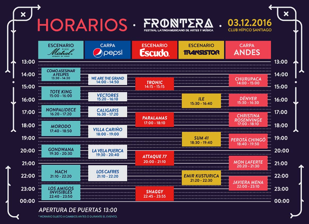 horarios de frontera festival 2016