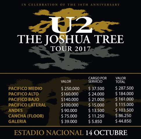 U2 confirma fechas de the joshua tree tour en latinoam rica for Piscina u de chile valores 2017
